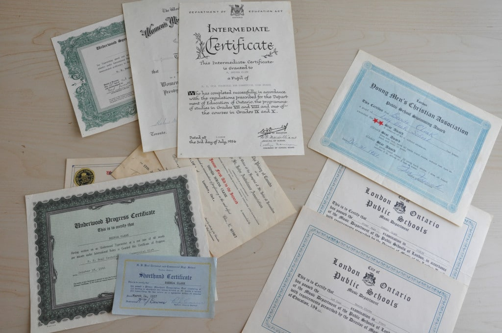 documents and certificates