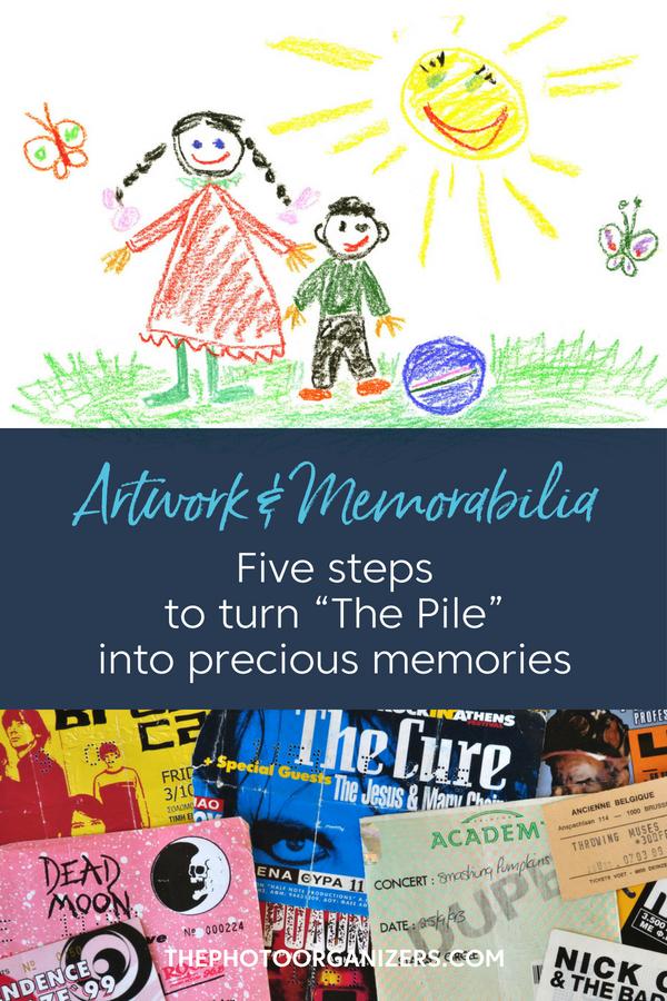 "Artwork & Memorabilia: Five Steps to Turn ""The Pile"" into Precious Memories | ThePhotoOrganizers.com"